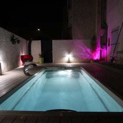 luxe city pool at night