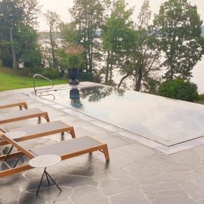 Luxe Tilestone infinity edge swimming pool