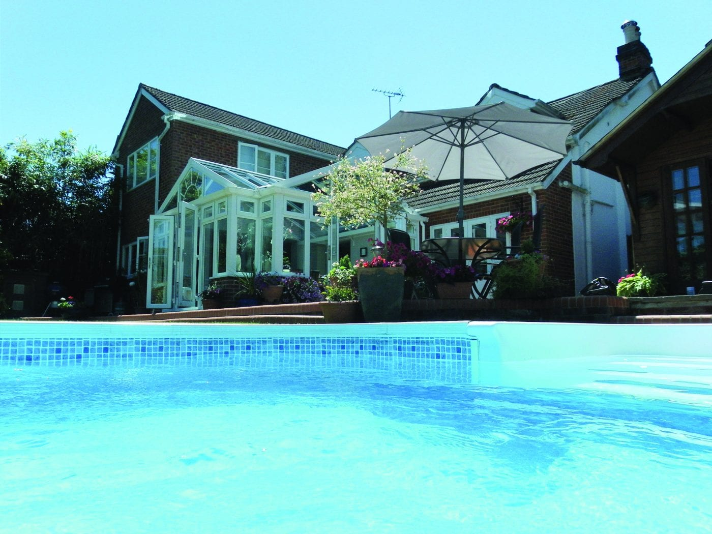 Outdoor tiled swimming pool