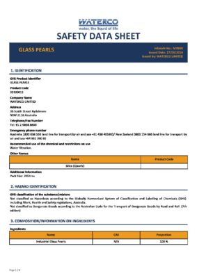 Waterco glass pearl safety data sheet glass-pearls
